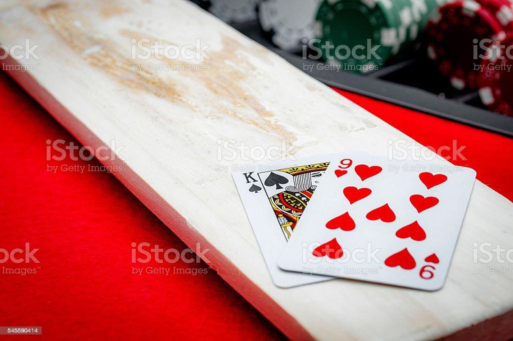Winning nine on baccarat ( punto banco ) stock photo