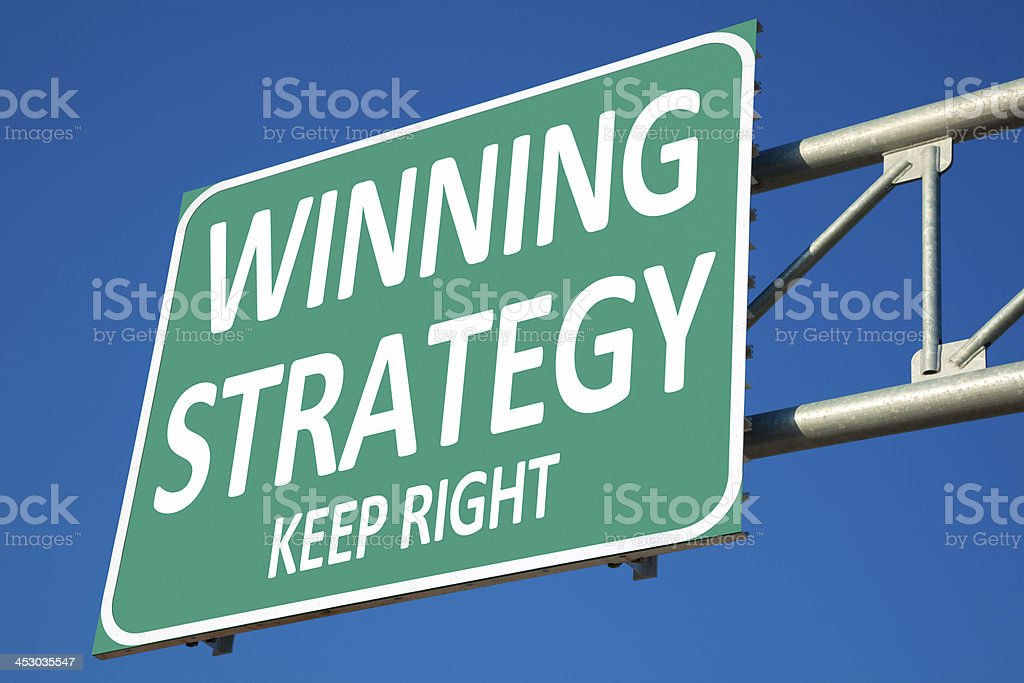 Winning Strategy Highway Exit Sign royalty-free stock photo