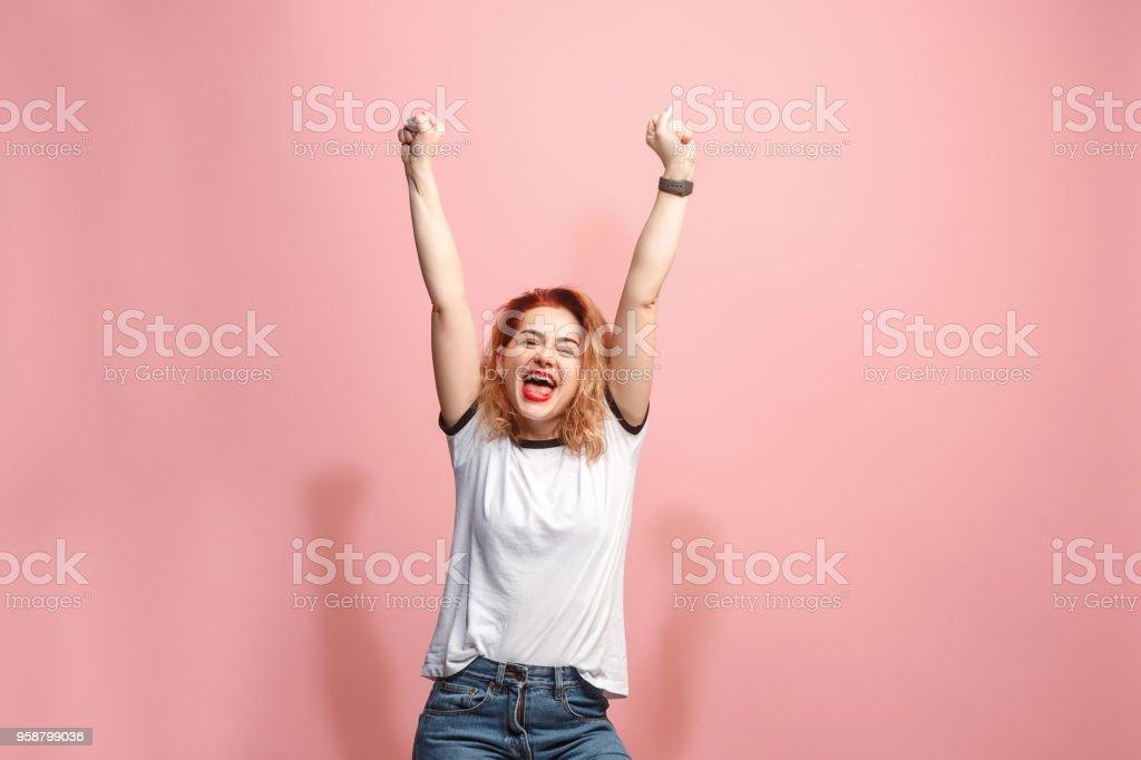 I won. Winning success happy woman celebrating being a winner....