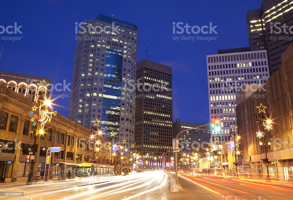Winnipeg Christmas lights royalty-free stock photo