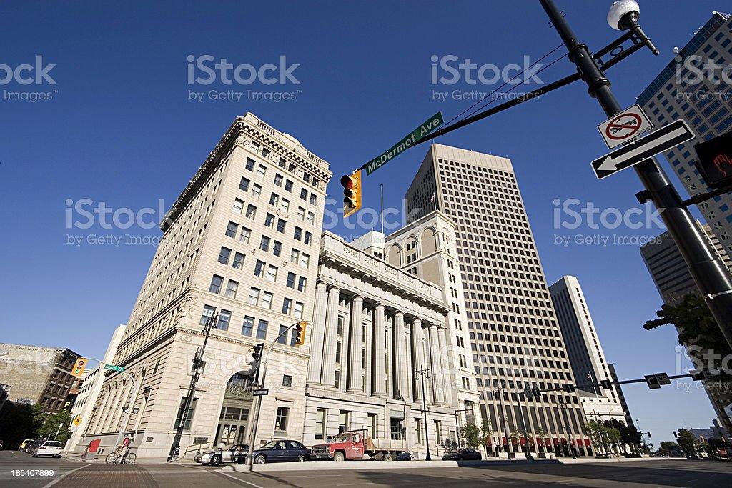 Winnipeg historical buildings on Main street. stock photo