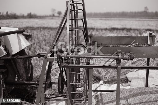 Winnowing fan outdoor in the agricultural land.