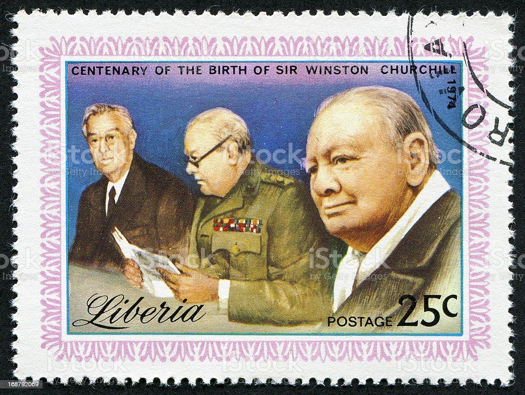 Winston Churchill Stamp royalty-free stock photo
