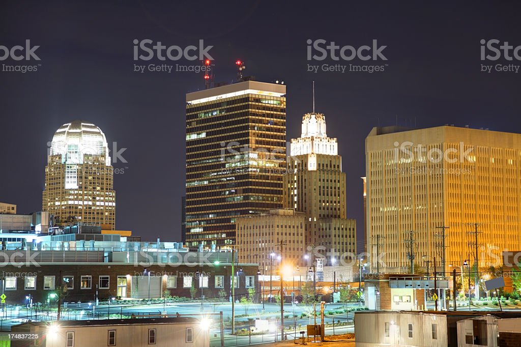 Winston-Salem downtown skyline lit up at night royalty-free stock photo