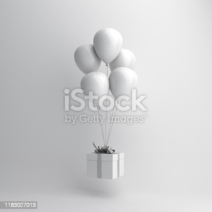 istock Winter abstract background, Design creative concept, flying balloon and gift box on white. Copy space text area. 1183027013