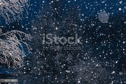 1047386704istockphoto Winter abstract background. Falling snow on the blue background. 1192019531
