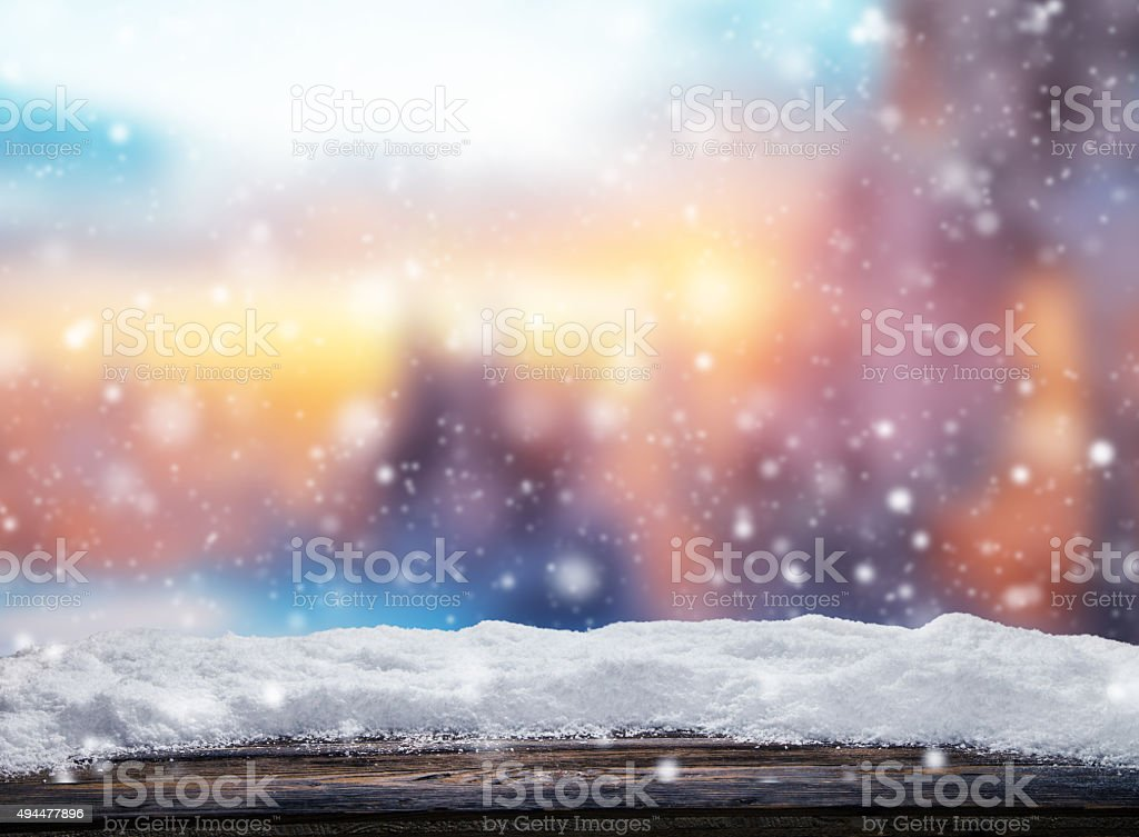 Winter abstract background with wooden planks stock photo