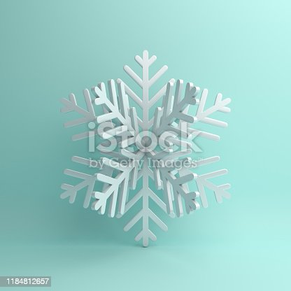 Winter abstract design creative concept, white snow icon on blue pastel background. 3D rendering illustration.
