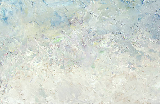 winter abstract light white blue oil painting background - impressionist painting stock photos and pictures