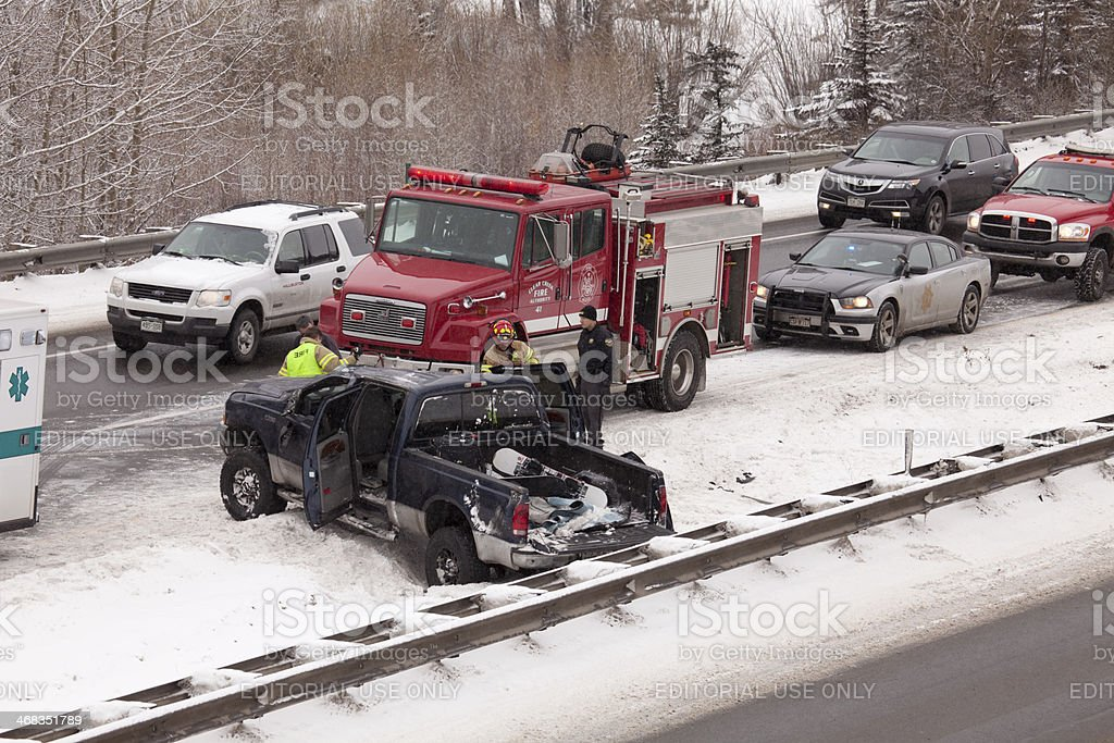Winter Accident On Interstate 70 Colorado Mountains Stock Photo