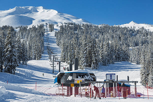 Winter Activities at Ski Resort stock photo