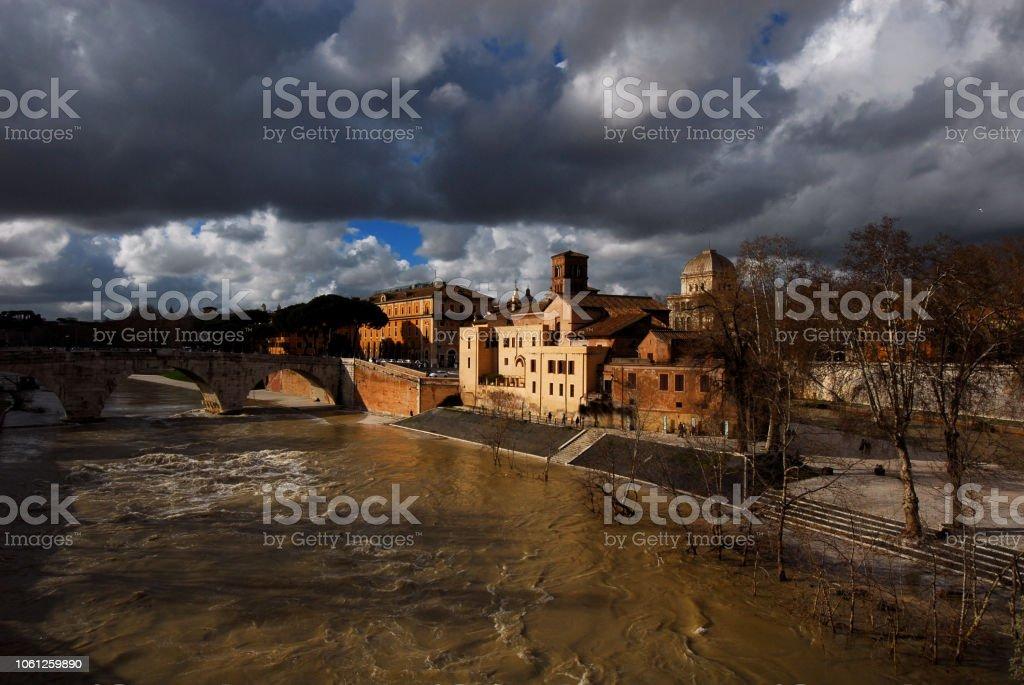 Winter adn bad weather in Rome. stock photo