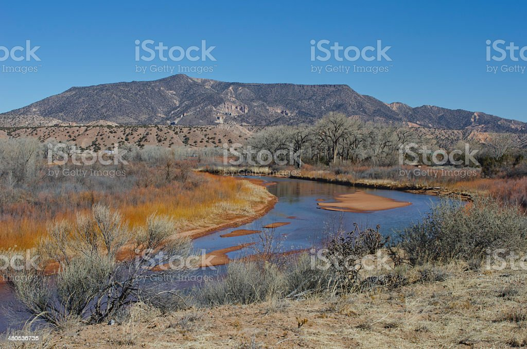 Winter Along the Chama River in New Mexico stock photo