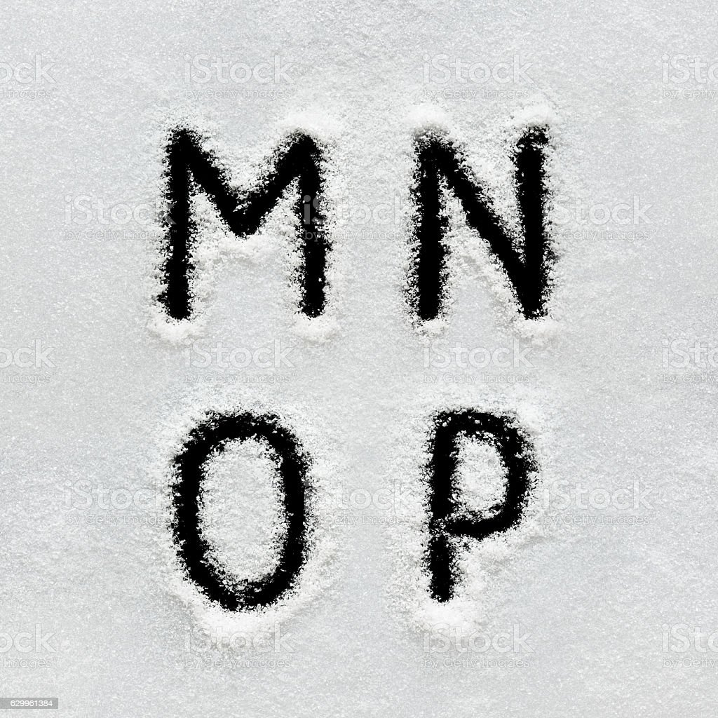Winter Alphabet Symbols And Numbers Hand Written On Snow Stock Photo