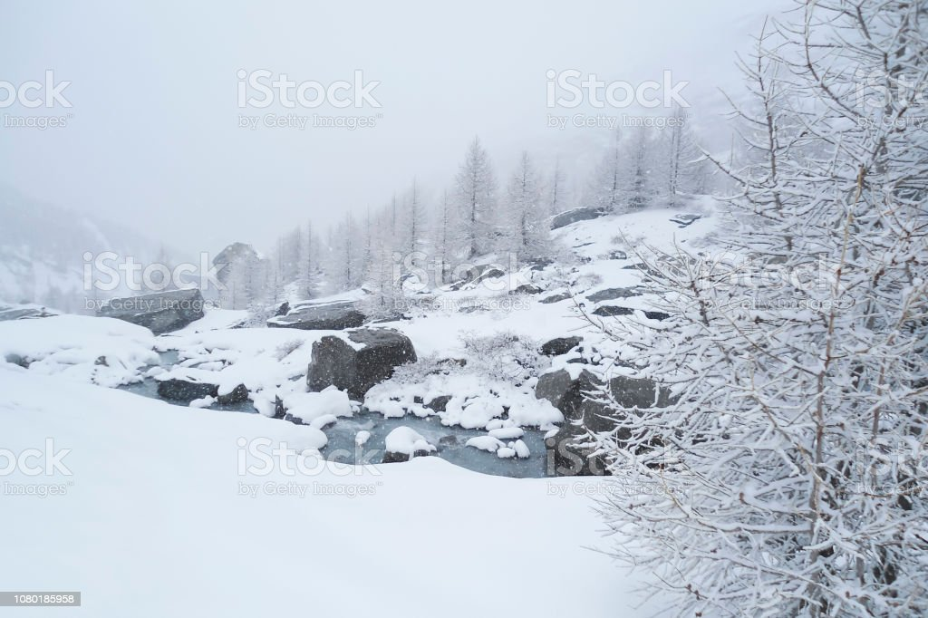 winter alpine landscape with a mountain stream bubbling over rocks;...