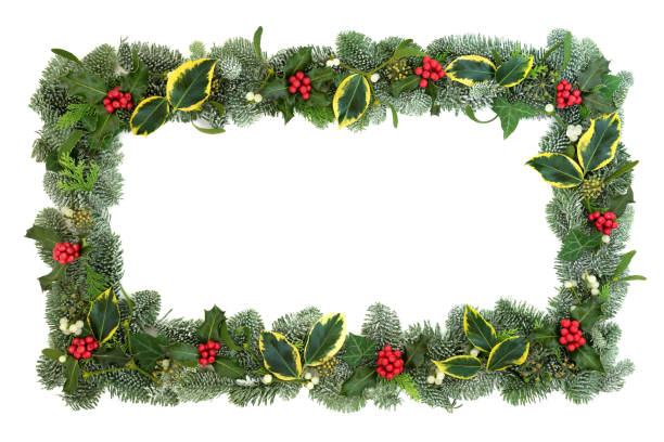 winter and christmas border - garland stock photos and pictures