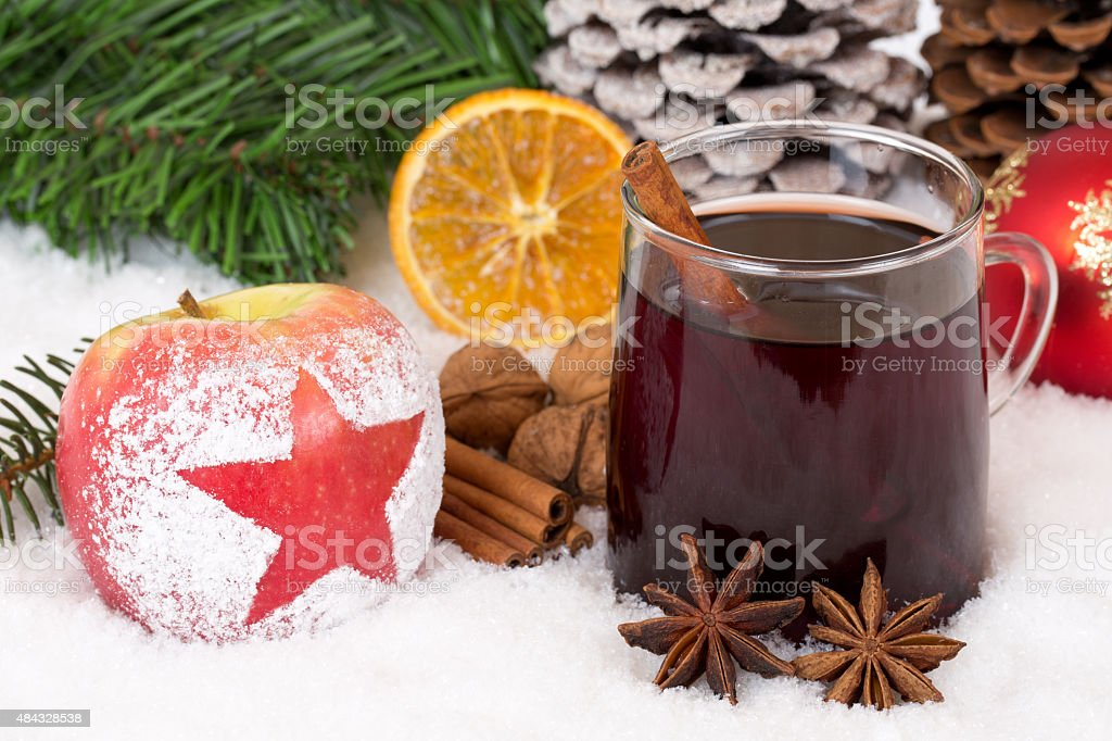 Winter apple fruit and mulled wine alcohol drink on Christmas royalty-free stock photo
