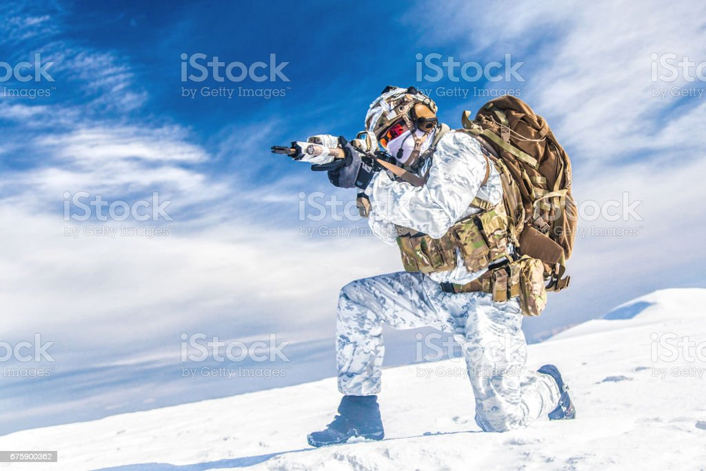 Winter arctic mountains warfare stock photo