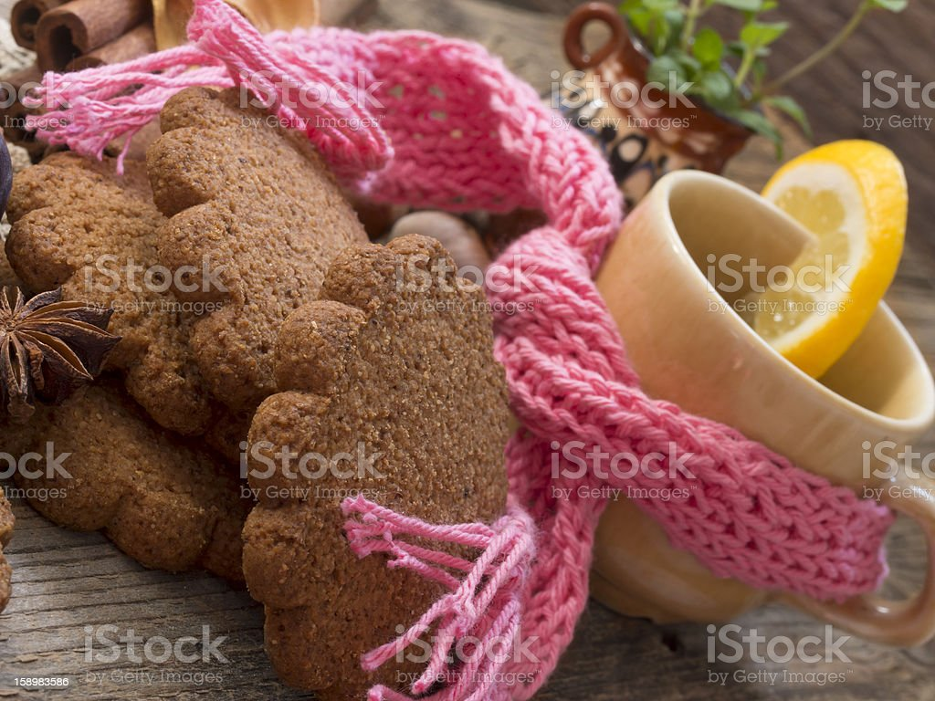 winter arrangement with tea and biscuits royalty-free stock photo