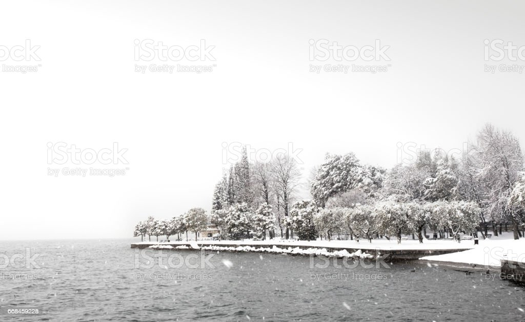 Winter at Bardolino at Garda Lake in Veneto province, Italy stock photo