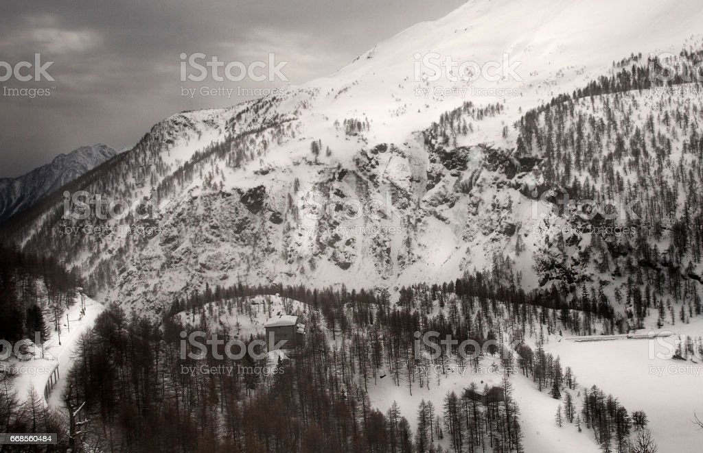 Winter at Bernina Pass, Switzerland stock photo