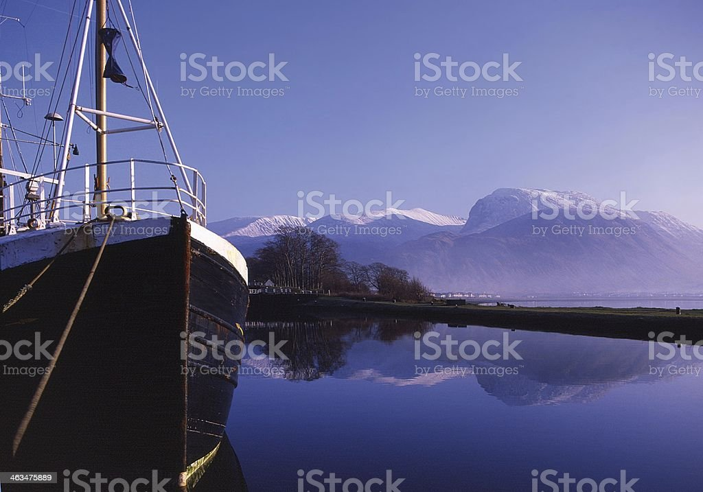 Winter at Corpach looking to Ben Nevis stock photo