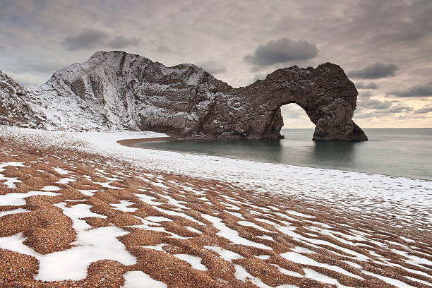 Winter at Durdle Door. stock photo