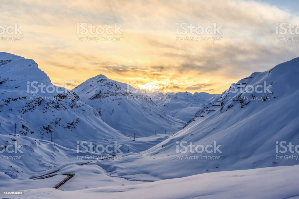 Winter at Julier -Pass Switzerland stock photo