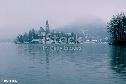 panoramic view of beautiful winter wonderland lake bled, Slovenia Christmas Time in Europe