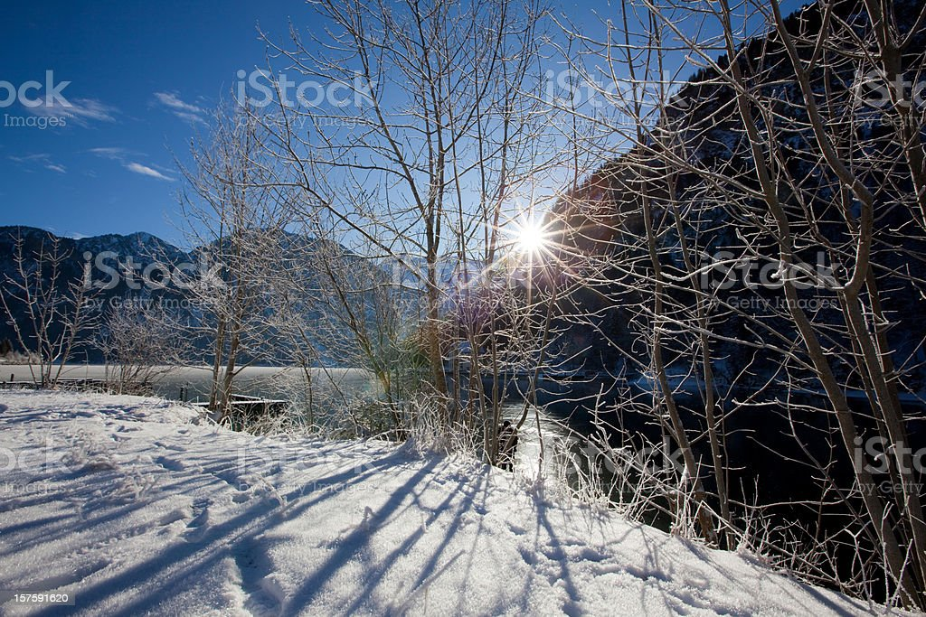 winter at lake plansee in tirol - austria stock photo