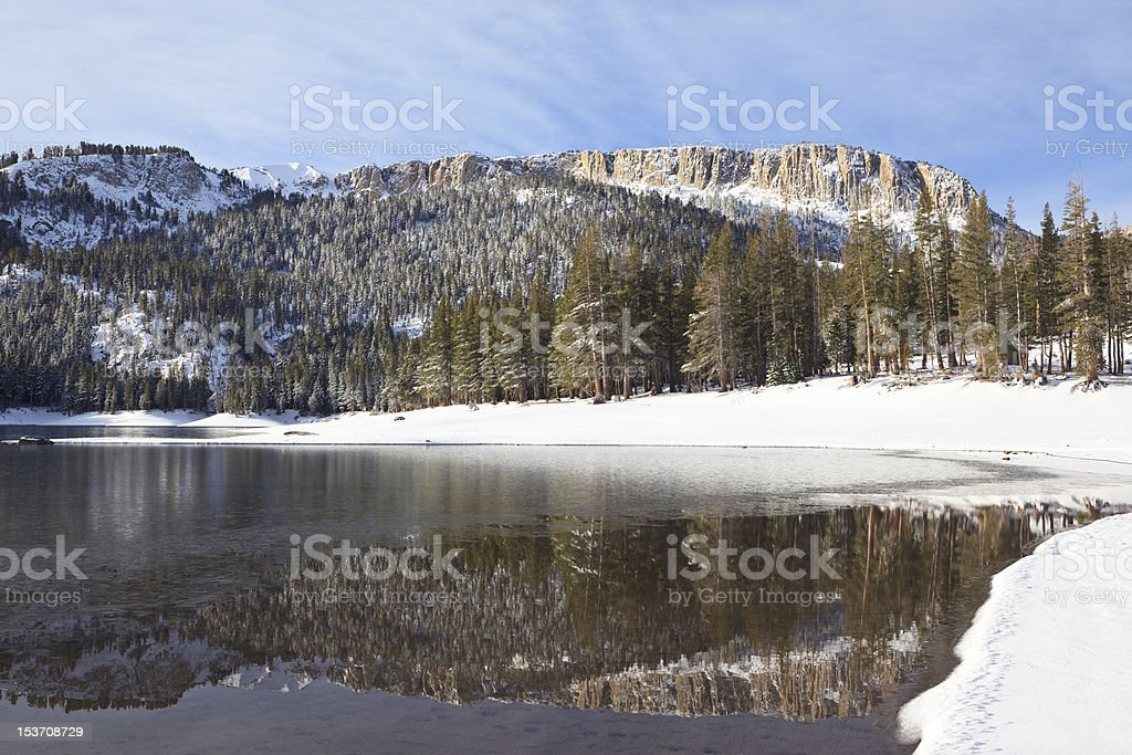 Winter at Mammoth Lakes in California mountains stock photo