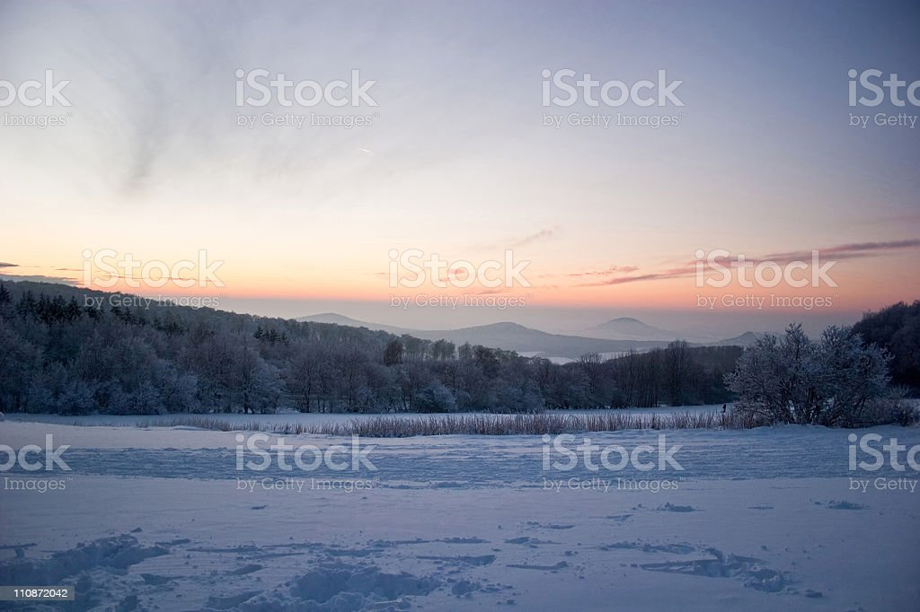 Winter at Mt. Hohes Gras in Kassel, Germany royalty-free stock photo