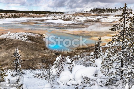 Blue colored hot springs at Norris Geyser Basin in the winter
