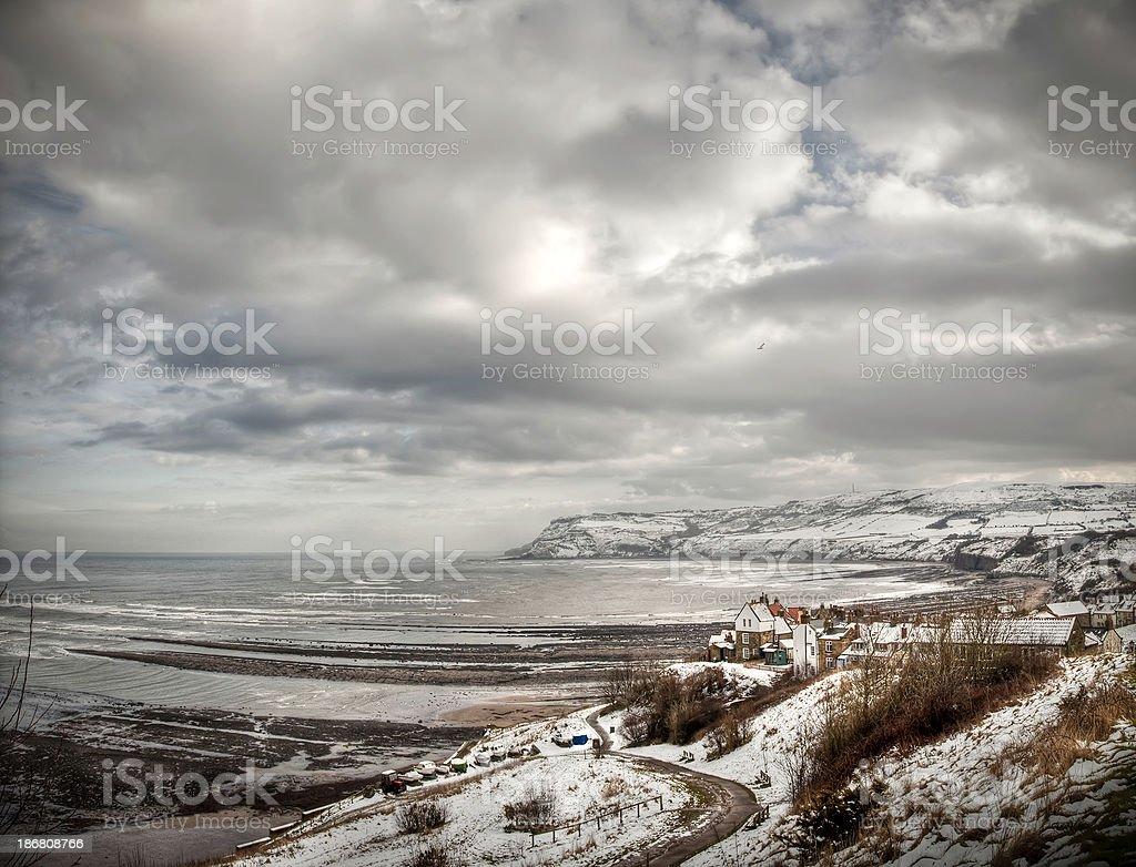 Winter at Robin Hood's Bay, North Yorkshire, UK royalty-free stock photo