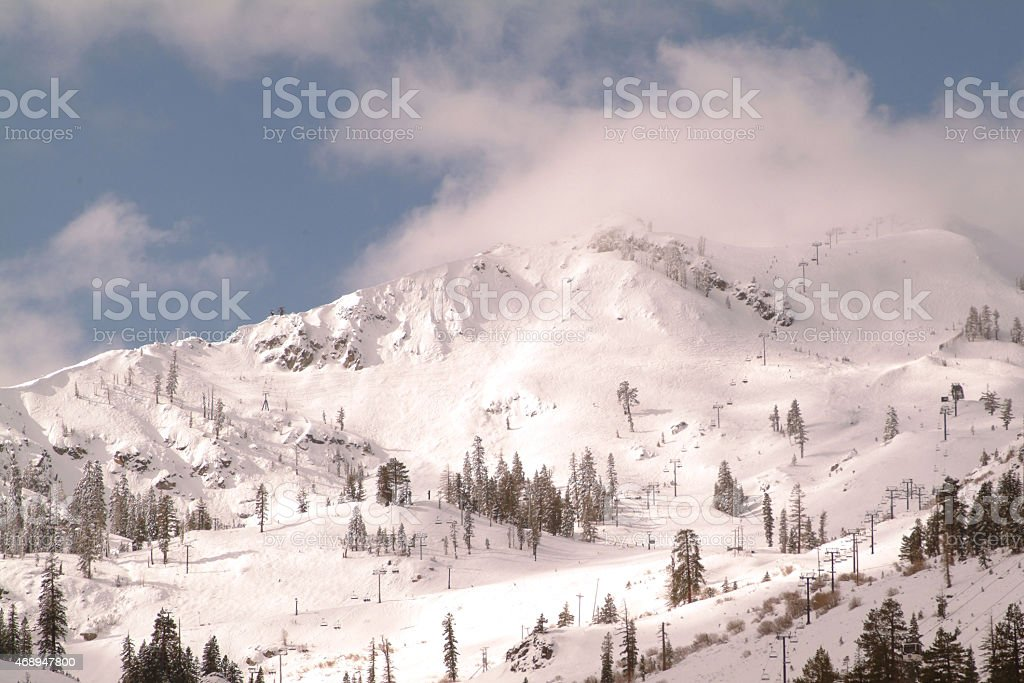 Winter at Squaw Valley, California stock photo