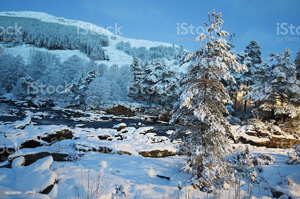 Winter at the Falls of Dochart, Killin. stock photo