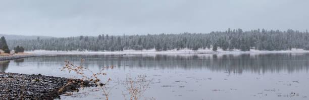 Winter at the lake stock photo