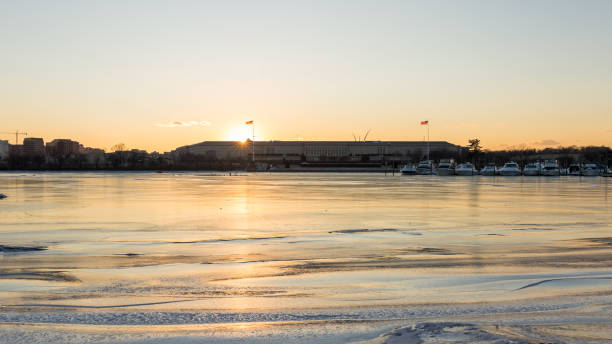 Winter at the Pentagon stock photo