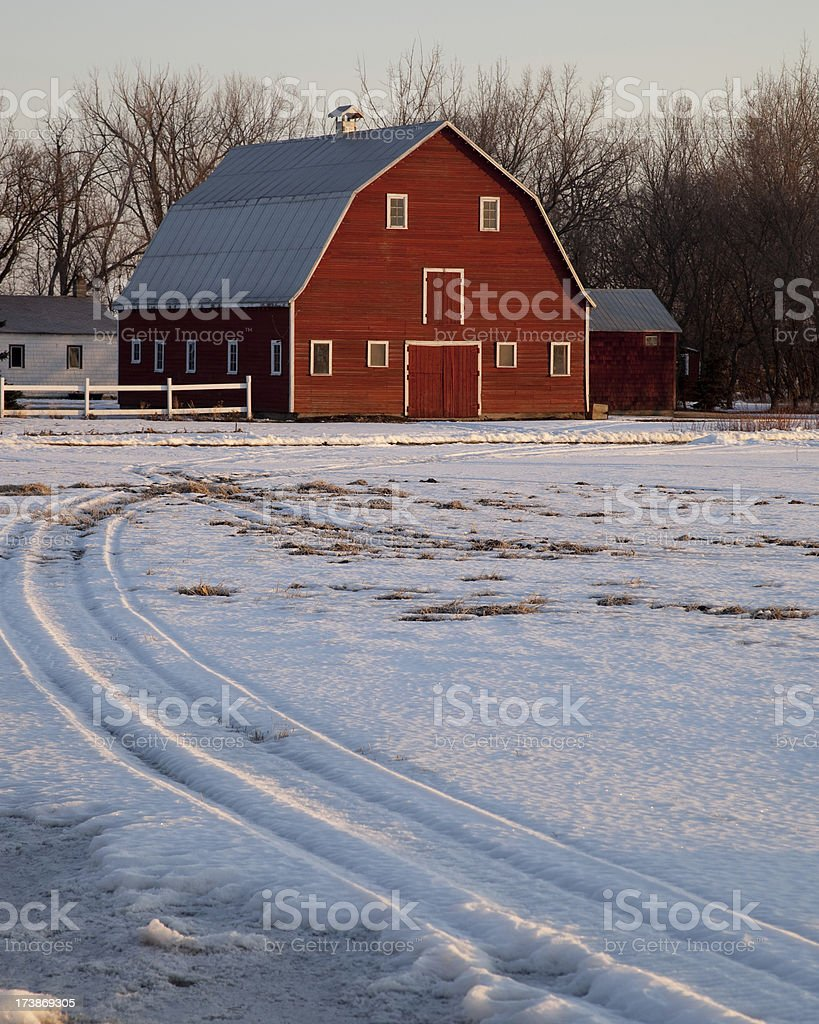 Winter at the Red Barn royalty-free stock photo