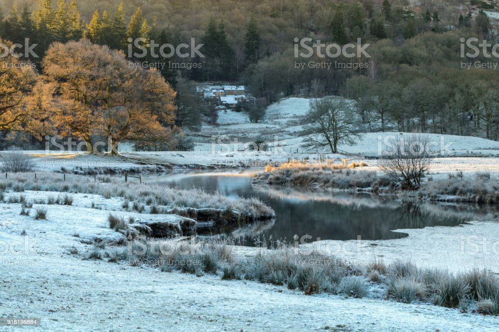 Winter at the river Brathay in the Lake District. stock photo