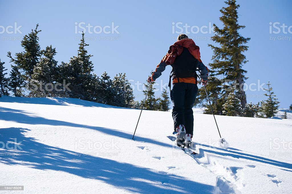Winter Backcountry Ski Touring in the Mountains royalty-free stock photo