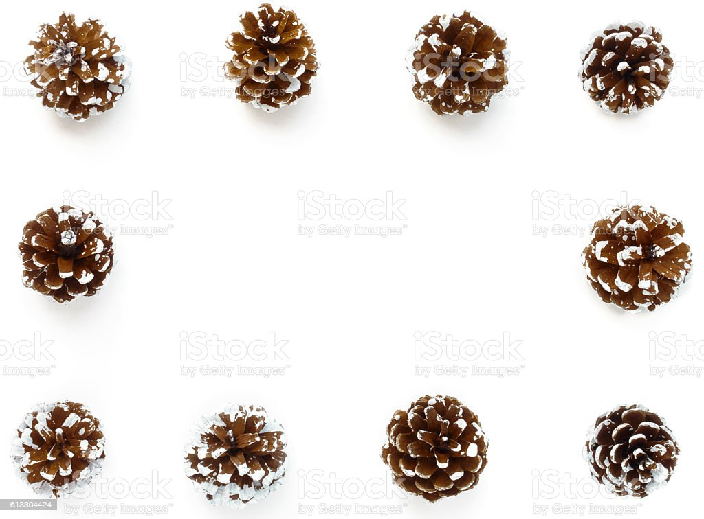 Winter Background Frame out of Pine Cones stock photo