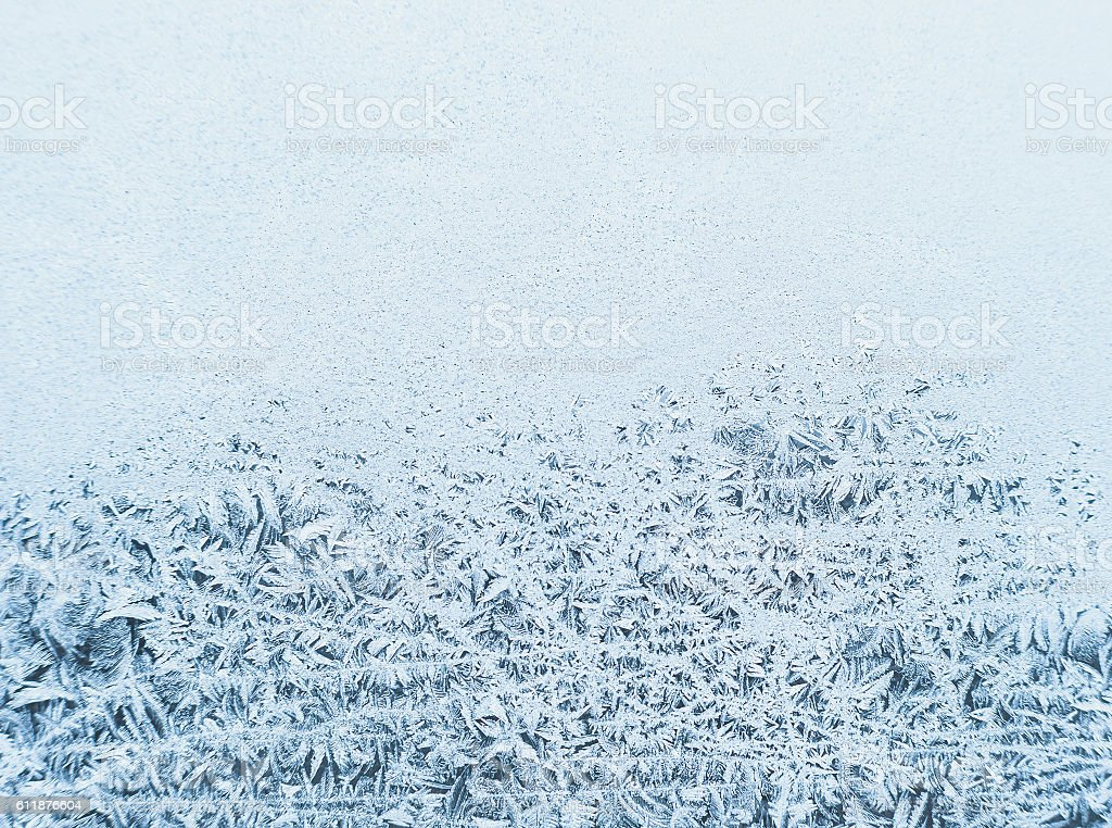 Winter background, frost on window stock photo