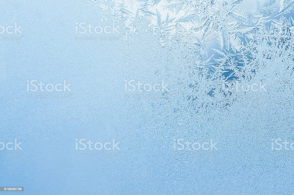 Winter background, frost on window