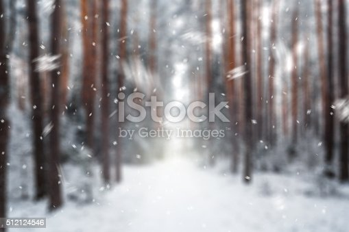 istock Winter background in snowy forest 512124546