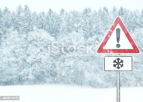 istock Winter Background - Snowy Landscape with Warning Sign 494811470