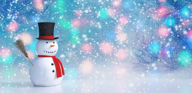 winter hintergrund mit einem schneemann, schnee und schneeflocken 3d render - schal mit sternen stock-fotos und bilder