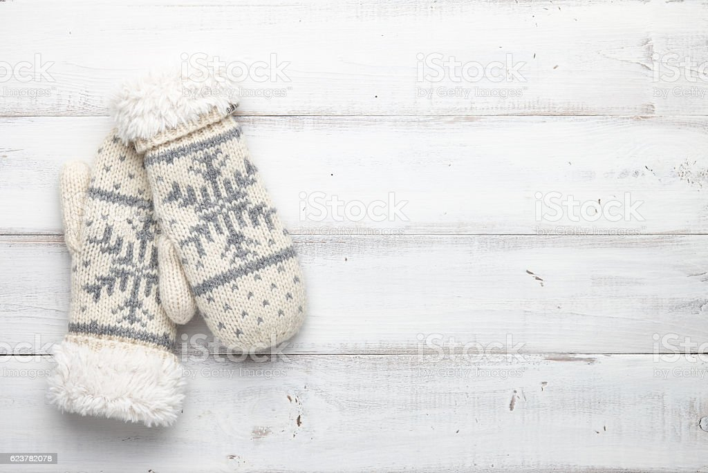 Winter background with mittens stock photo