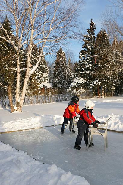 Winter Backyard Activity stock photo