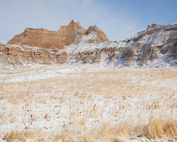 Winter Badlands Grass and Mountains. stock photo